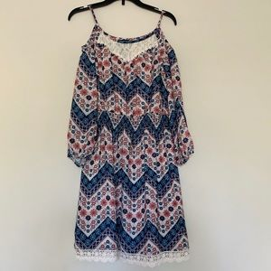 Girls 3/4 Puff Sleeves Lace Short Dress